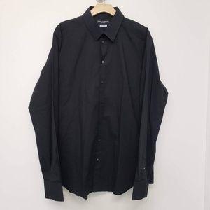 Dolce & Gabbana Gold Fit Button Up Shirt - Black